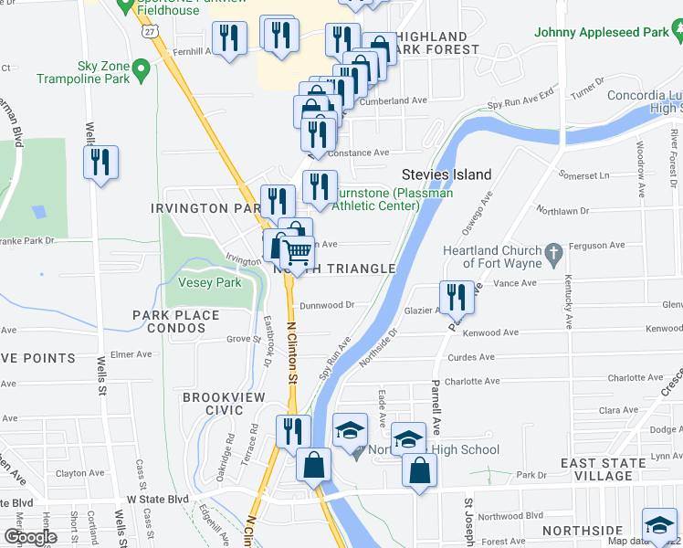 map of restaurants, bars, coffee shops, grocery stores, and more near Dalgren Avenue in Fort Wayne