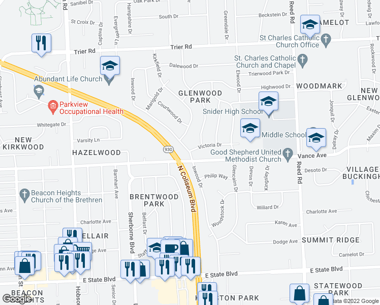 map of restaurants, bars, coffee shops, grocery stores, and more near Inwood Dr in Fort Wayne