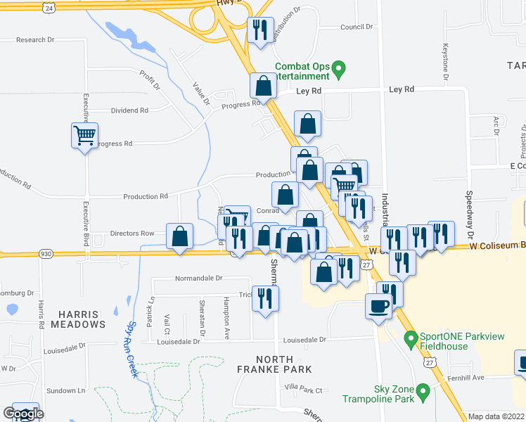 map of restaurants, bars, coffee shops, grocery stores, and more near Conrad Street in Fort Wayne