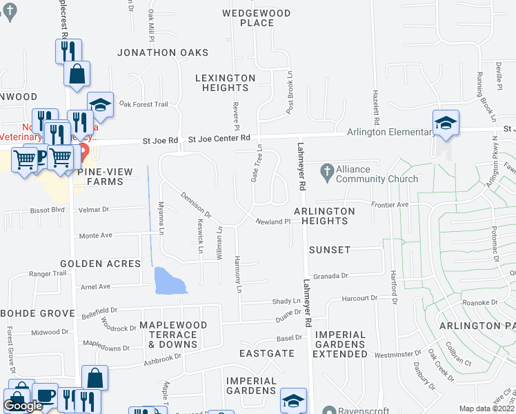 map of restaurants, bars, coffee shops, grocery stores, and more near 5414 Thornbriar Lane in Fort Wayne