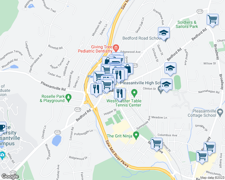 map of restaurants, bars, coffee shops, grocery stores, and more near in Pleasantville