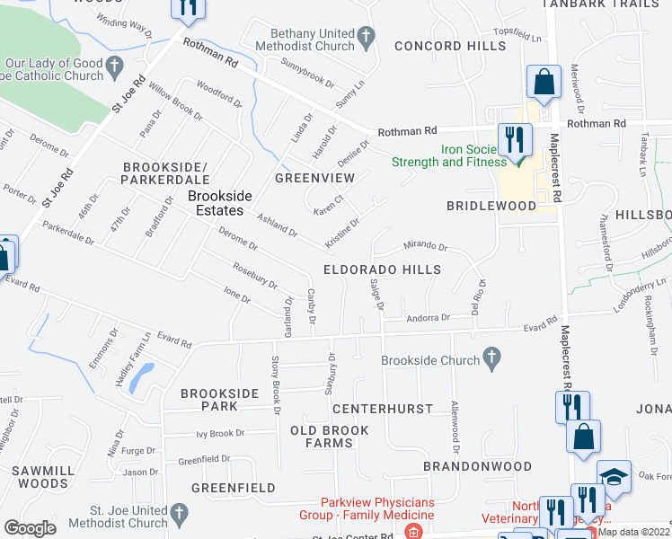 map of restaurants, bars, coffee shops, grocery stores, and more near 5607 Ashland Drive in Fort Wayne