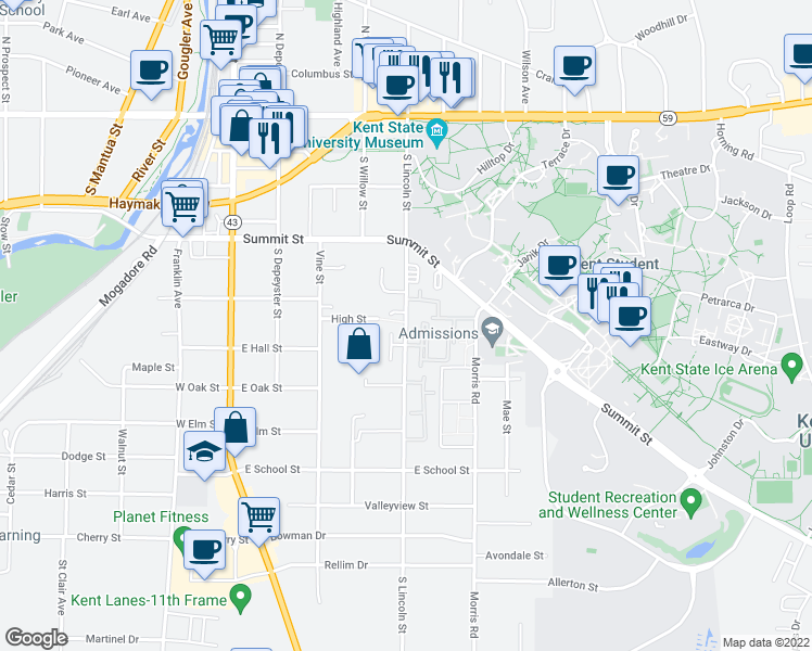 map of restaurants, bars, coffee shops, grocery stores, and more near 571 S Lincoln St in Kent