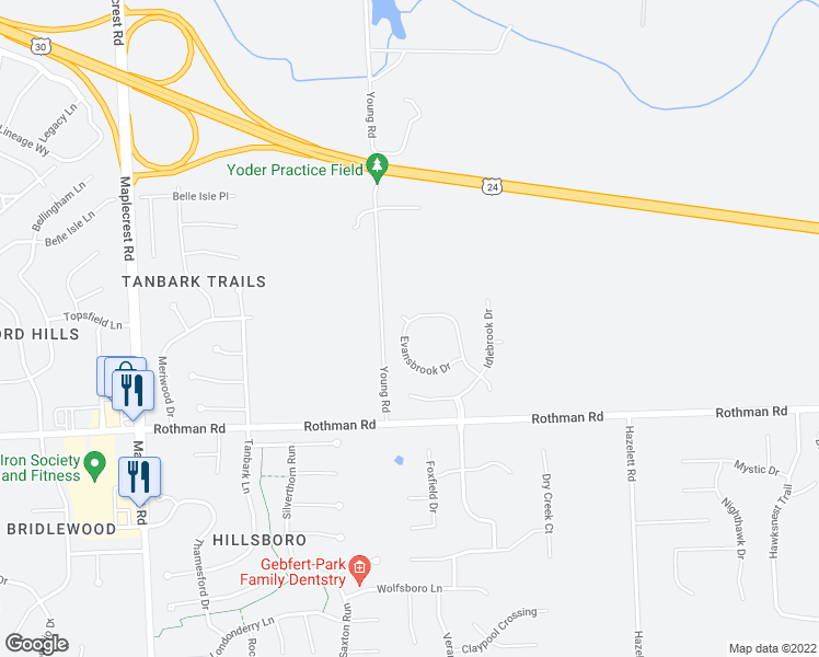 map of restaurants, bars, coffee shops, grocery stores, and more near 7107 Evansbrook Drive in Fort Wayne