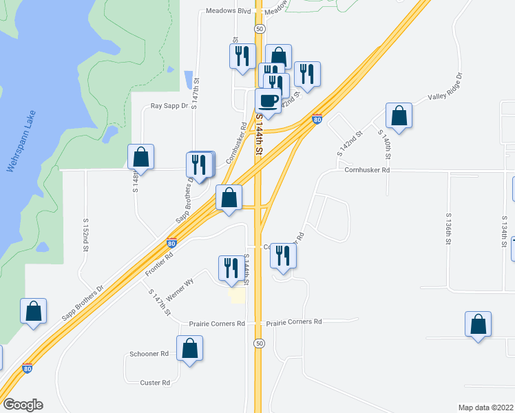 map of restaurants, bars, coffee shops, grocery stores, and more near S 144th St in Omaha