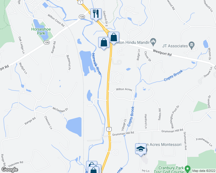 map of restaurants, bars, coffee shops, grocery stores, and more near 1 Wilton Acres in Wilton