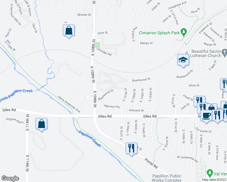 map of restaurants, bars, coffee shops, grocery stores, and more near 10736 Brentwood Drive in La Vista