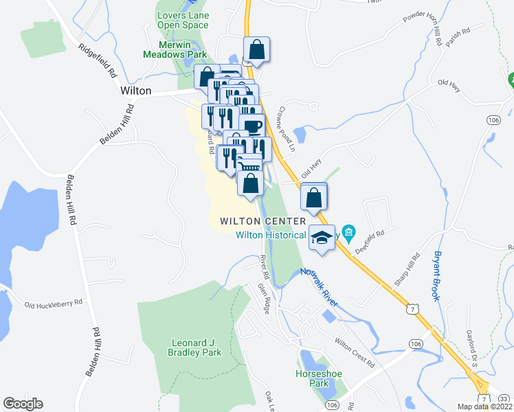 map of restaurants, bars, coffee shops, grocery stores, and more near 21 River Road in Wilton