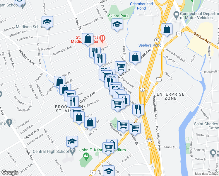 map of restaurants, bars, coffee shops, grocery stores, and more near 2427 Main St in Bridgeport