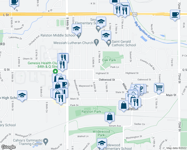 map of restaurants, bars, coffee shops, grocery stores, and more near 8001 Q St in Ralston