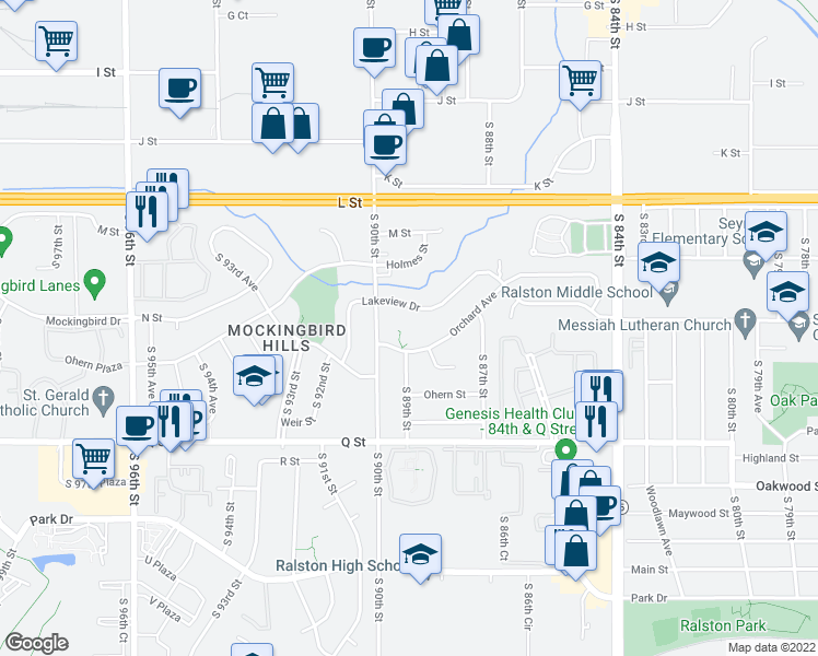 map of restaurants, bars, coffee shops, grocery stores, and more near Lakeview St in Omaha