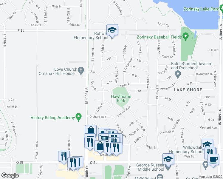 map of restaurants, bars, coffee shops, grocery stores, and more near S 177th St in Omaha
