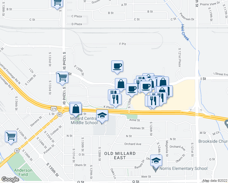 map of restaurants, bars, coffee shops, grocery stores, and more near 19 in Omaha