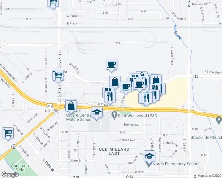 map of restaurants, bars, coffee shops, grocery stores, and more near 14 in Omaha