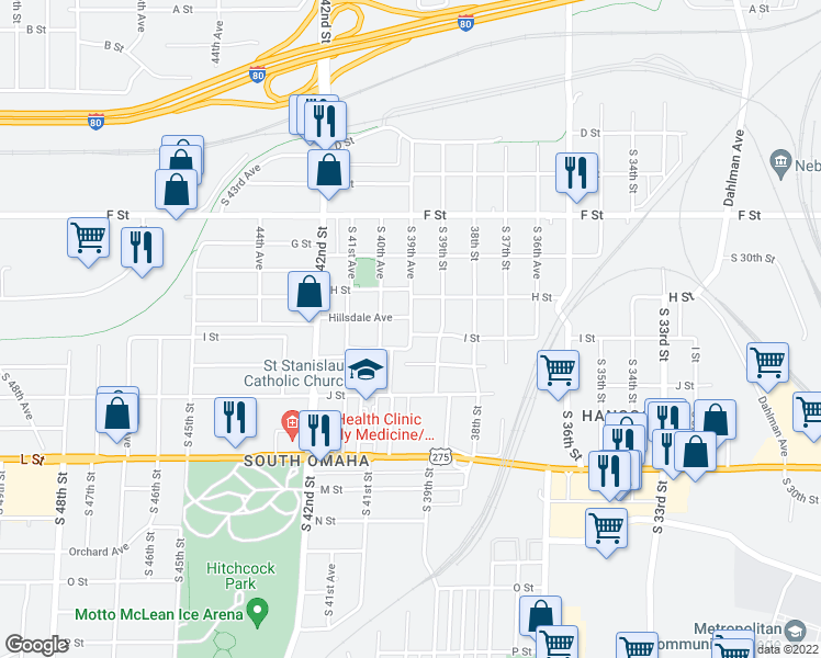 map of restaurants, bars, coffee shops, grocery stores, and more near 4352 South 39th Avenue in Omaha