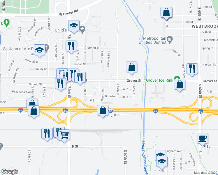 map of restaurants, bars, coffee shops, grocery stores, and more near 6805 A Plaza in Omaha