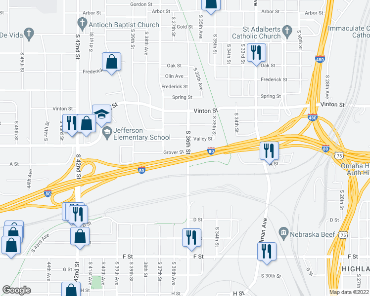 map of restaurants, bars, coffee shops, grocery stores, and more near 3606 Grover St in Omaha