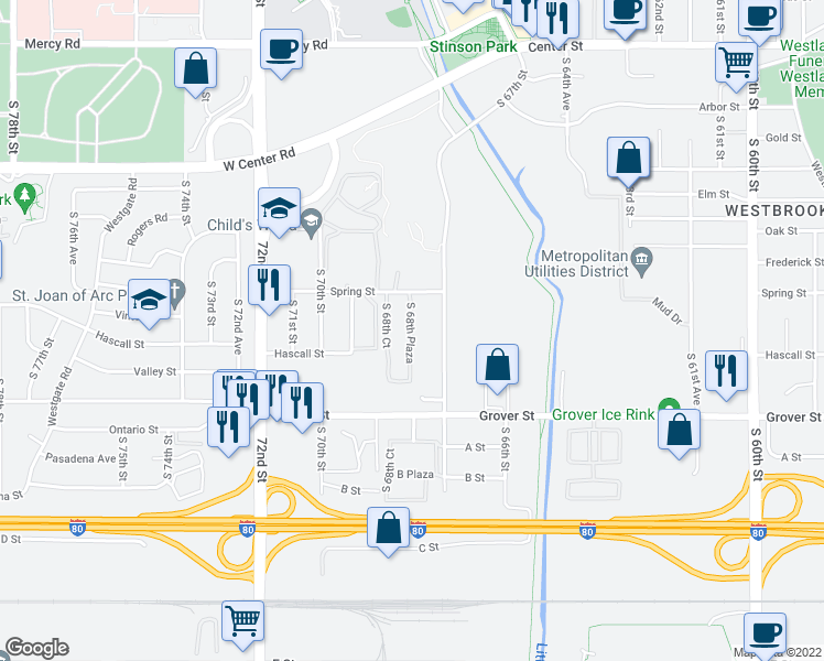 map of restaurants, bars, coffee shops, grocery stores, and more near 3222 S 68th Plaza in Omaha