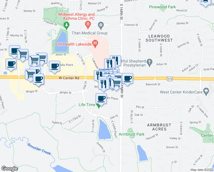 map of restaurants, bars, coffee shops, grocery stores, and more near 17010 Wright Plaza in Omaha
