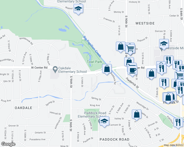 map of restaurants, bars, coffee shops, grocery stores, and more near W Center Rd in Omaha