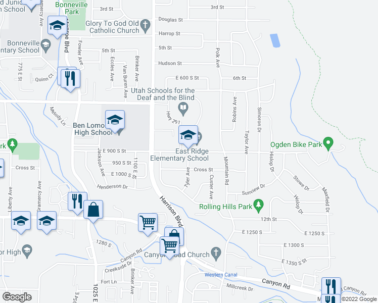 map of restaurants, bars, coffee shops, grocery stores, and more near 1300 9th St in Ogden