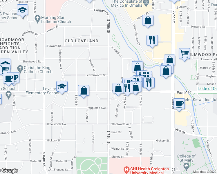 map of restaurants, bars, coffee shops, grocery stores, and more near 901 South 78th Street in Omaha