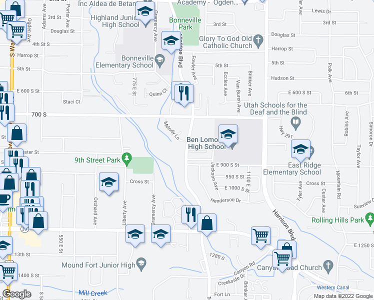 map of restaurants, bars, coffee shops, grocery stores, and more near East 800 South Street in Ogden