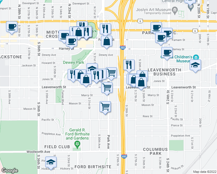 map of restaurants, bars, coffee shops, grocery stores, and more near Leavenworth St & Park Ave in Omaha