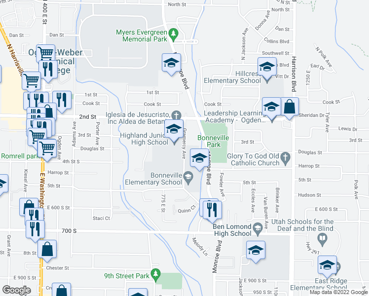 map of restaurants, bars, coffee shops, grocery stores, and more near 300-498 Gramercy Avenue in Ogden