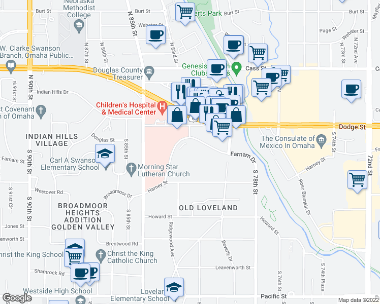 map of restaurants, bars, coffee shops, grocery stores, and more near 8141 Farnam Dr in Omaha
