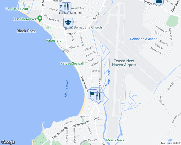 map of restaurants, bars, coffee shops, grocery stores, and more near in East Haven