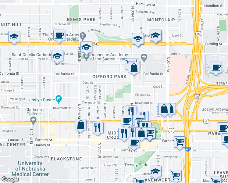 map of restaurants, bars, coffee shops, grocery stores, and more near 332 N 35th St in Omaha
