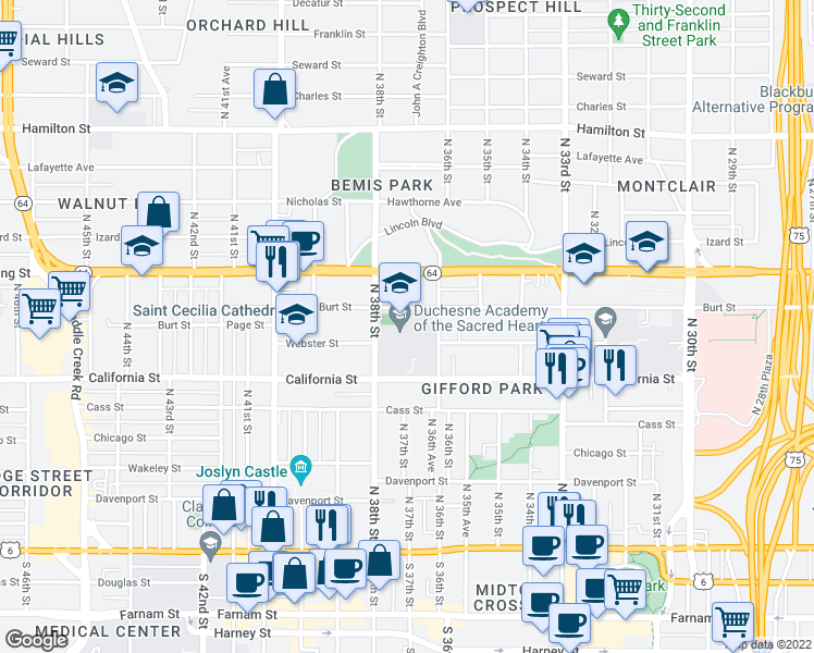 map of restaurants, bars, coffee shops, grocery stores, and more near 3601 Burt St in Omaha
