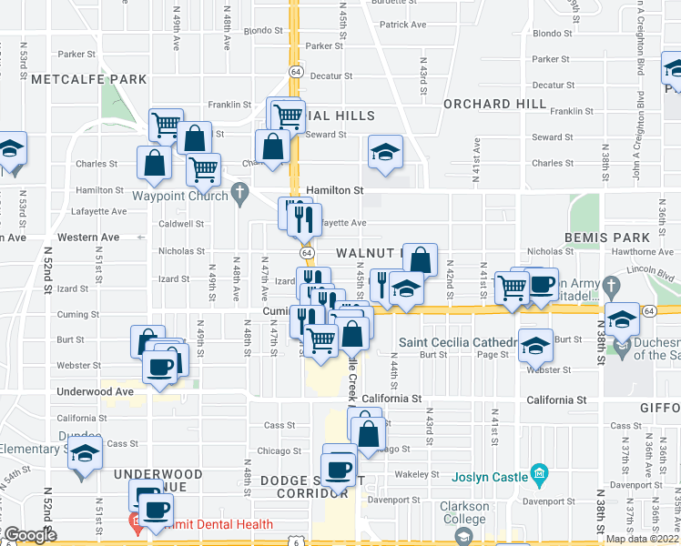 map of restaurants, bars, coffee shops, grocery stores, and more near 4518 Izard St in Omaha