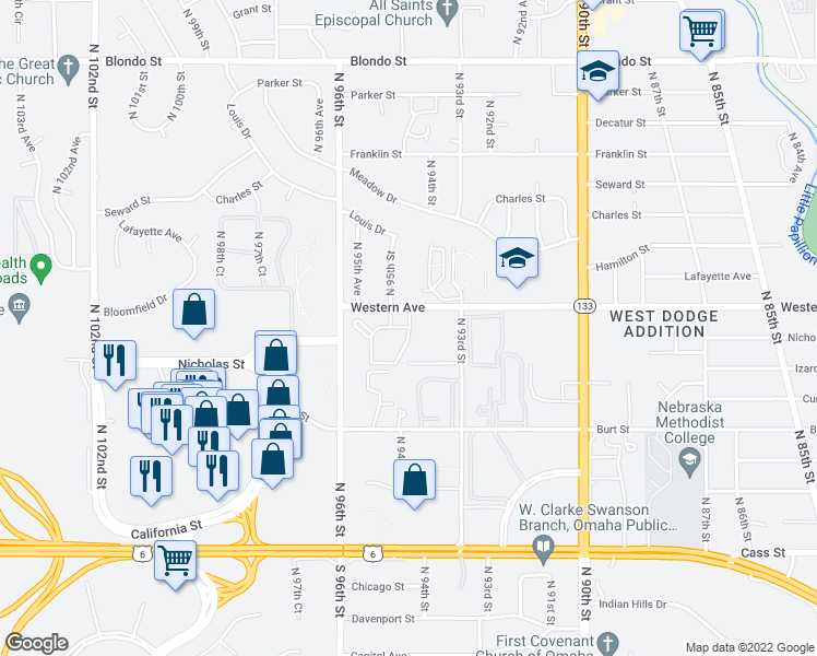 map of restaurants, bars, coffee shops, grocery stores, and more near 938-998 North 94th Plaza in Omaha