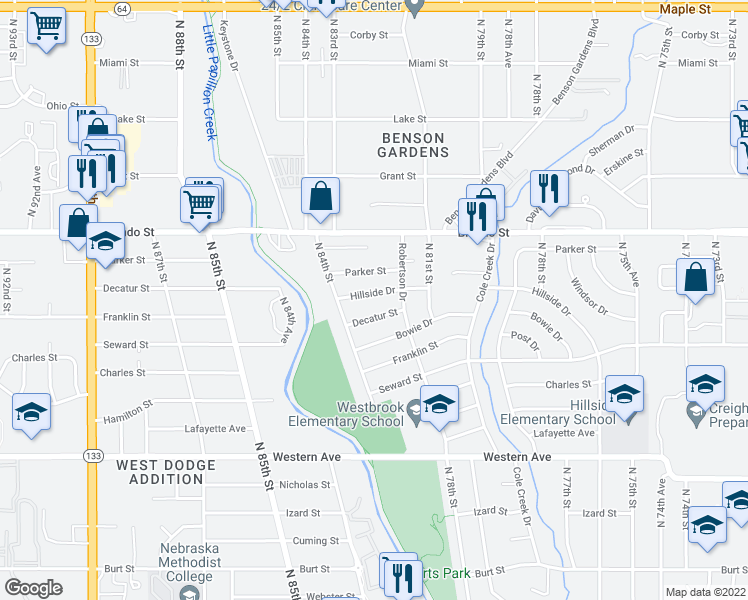 map of restaurants, bars, coffee shops, grocery stores, and more near 8221 Hillside Dr in Omaha