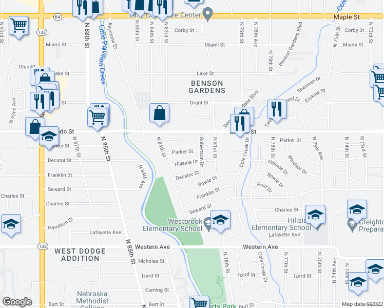 map of restaurants, bars, coffee shops, grocery stores, and more near 8209 Parker St in Omaha
