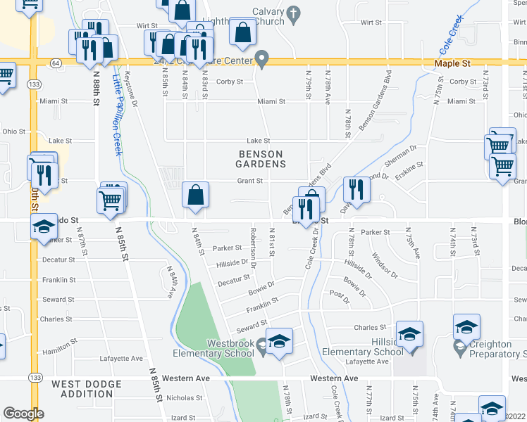 map of restaurants, bars, coffee shops, grocery stores, and more near 2004 N 81st Ct in Omaha