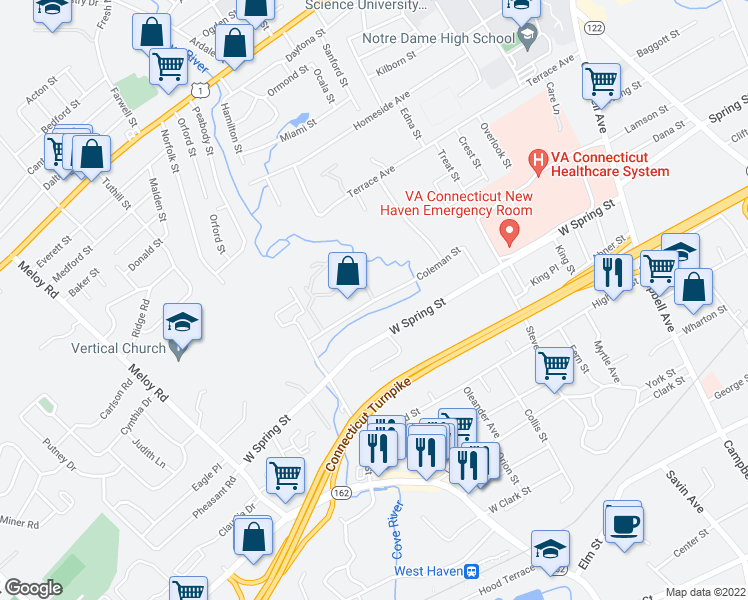 map of restaurants, bars, coffee shops, grocery stores, and more near 99 Coleman St in West Haven