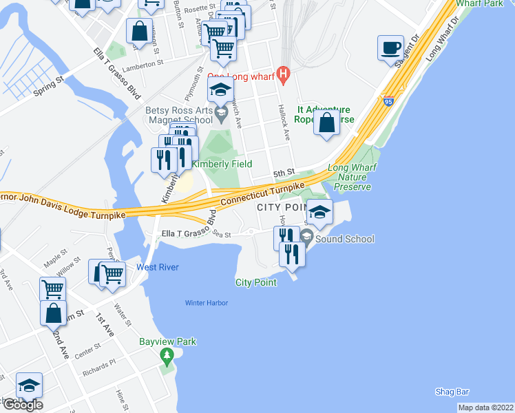 map of restaurants, bars, coffee shops, grocery stores, and more near Greenwich Ave & 6th St in New Haven