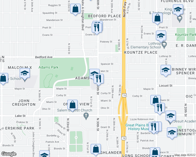 map of restaurants, bars, coffee shops, grocery stores, and more near N 30th St & Binney St in Omaha