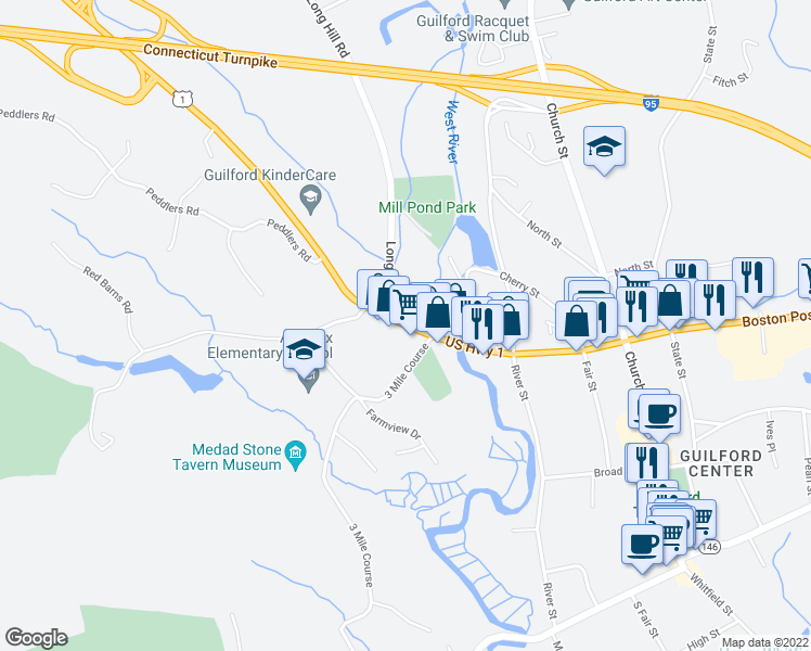 map of restaurants, bars, coffee shops, grocery stores, and more near 24 Long Hill Road in Guilford