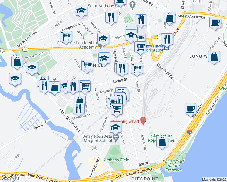 map of restaurants, bars, coffee shops, grocery stores, and more near 84 Rosette Street in New Haven