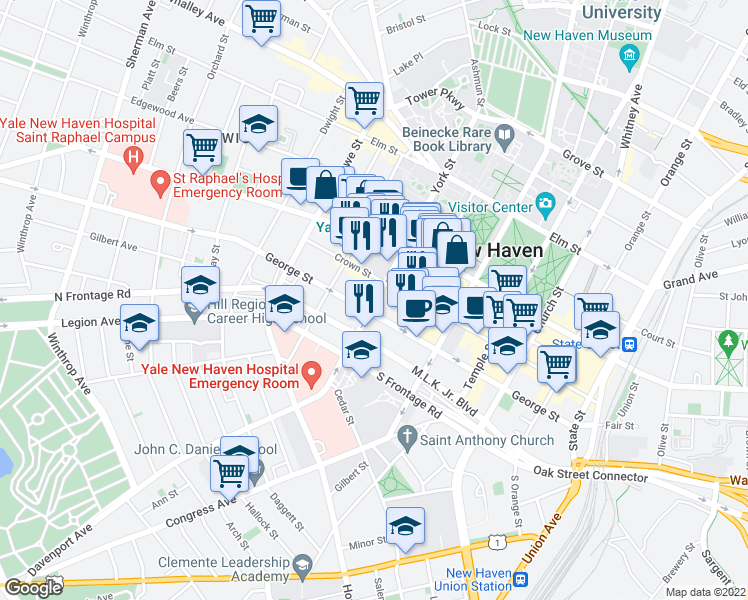 map of restaurants, bars, coffee shops, grocery stores, and more near 100 York Street in New Haven