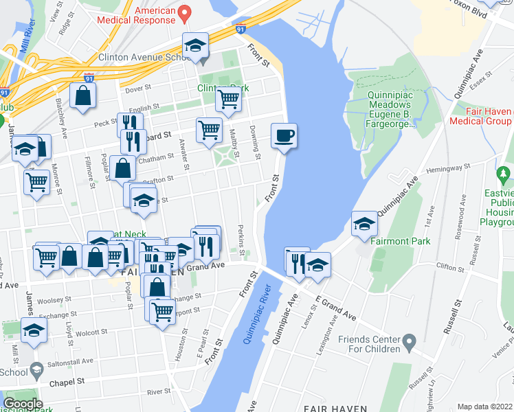 map of restaurants, bars, coffee shops, grocery stores, and more near Lewis Street in New Haven