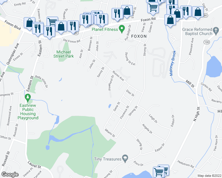 map of restaurants, bars, coffee shops, grocery stores, and more near 41 Pinehurst Drive in East Haven