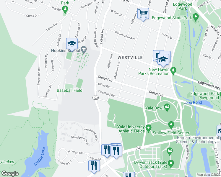 map of restaurants, bars, coffee shops, grocery stores, and more near 262 Oliver Road in New Haven