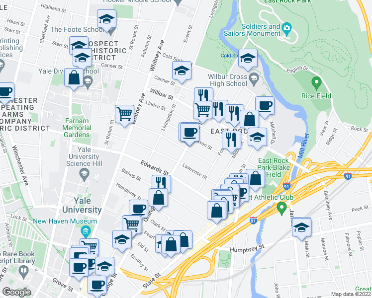 map of restaurants, bars, coffee shops, grocery stores, and more near Orange Street & Cottage Street in New Haven