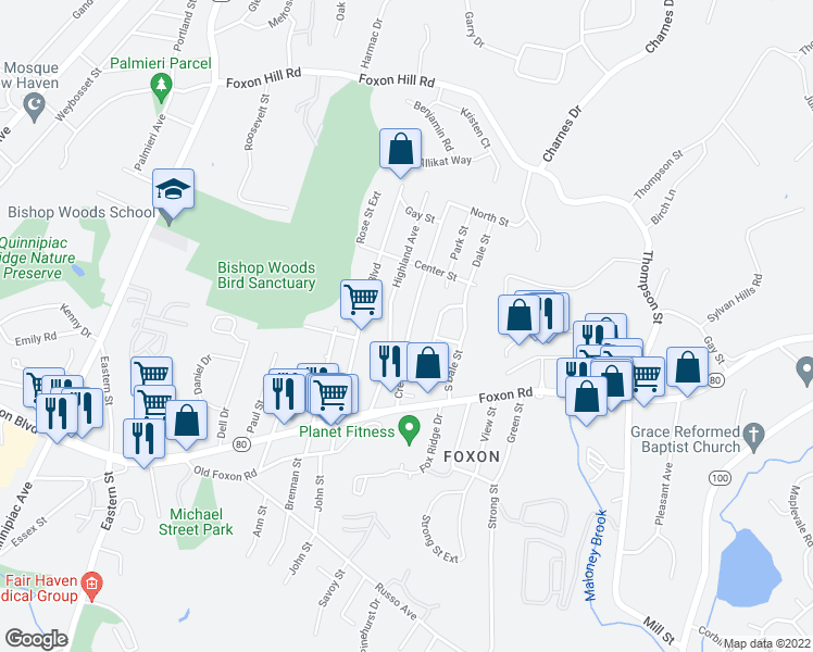 map of restaurants, bars, coffee shops, grocery stores, and more near 72 Crest Avenue in East Haven
