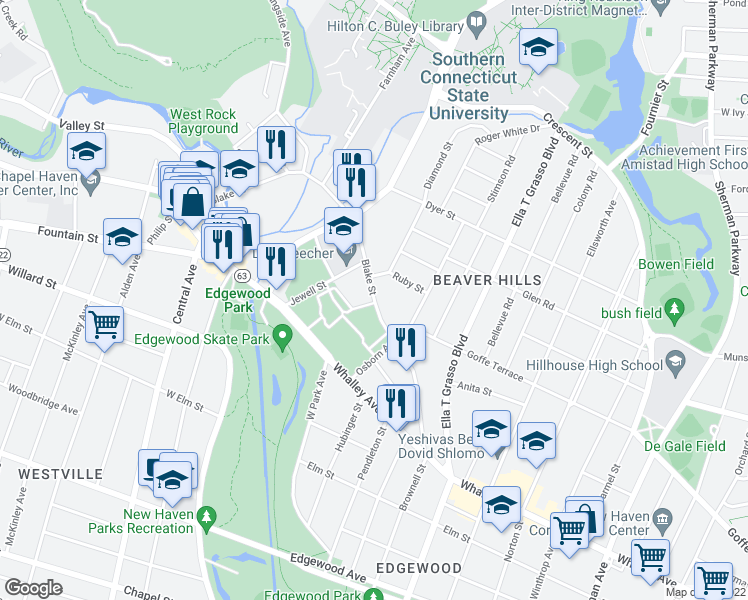 map of restaurants, bars, coffee shops, grocery stores, and more near Blake Street in New Haven